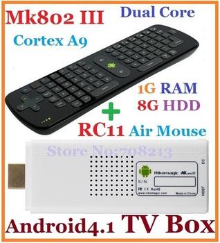 10pcs=5pcs RC11+5pcs MK802 III Dual Core Mini pc Android 4.1 TV BOX Rikomagic RK3066 1.6Ghz Cortex A9 1GB RAM 8G ROM HDMI