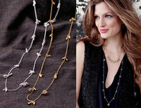 Free Shipping~~Fashion Gold Plated  Necklace 2012 Exquisite Long Chain Necklace for Women Punk Crystal Ball Set.OY111305 (N163)