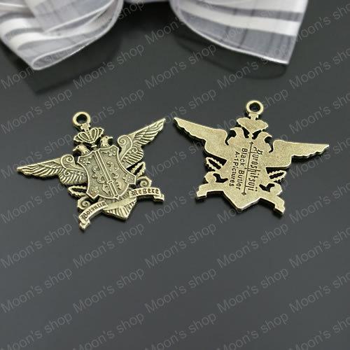 (26620) de bijouterie de mode, accessoires, charme, pendentif, en alliage de bronze antique 42*34mm aigle. badge. 10 pcs