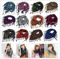 The scarf cotton and linen lattice scarf plover case scarf big square cape multicolor random