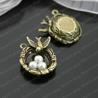 (26629)Fashion Jewelry Findings,Accessories,charm,pendant,Alloy Antique Bronze 24*24MM Swallows nest 6PCS