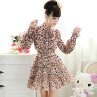 Free shipping Holiday Sale Brand Luxury Stylish Beige Bow Bandeaus Long-sleeve Chiffon One-piece Women's Dress