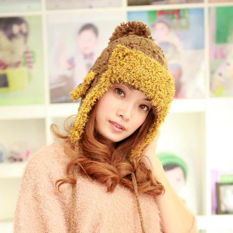 Free shipping Christmas gift items Women's winter knitted Ear protector warm cap beanies fashion new style hats(China (Mainland))