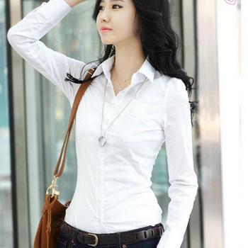 mujeres primavera 2013 slim cintura camisa blanca largo de la mujer- camisa de manga envío gratis
