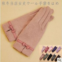 Free shipping! Fashion warm colorful winter women's  woolen rosette Gloves & Mittens