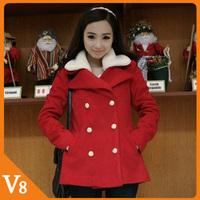 Free Shipping Women's Clothing Korean spring, autumn  winter fur coat women Slim woolen red double-breasted coat