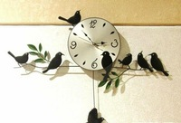 Hot selling! Creative Wall Clock Fashion Art Deco Clock Little Bird Wall Clocks free shipping
