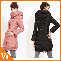 Free Shipping 2012 Korean winter thickened Slim winter coat Women lace down jacket Long Slim women down and feather jacket