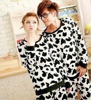 Autumn and winter sleepwear cow male women's lovers sleepwear female 100% cotton long-sleeve lounge set