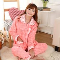 Autumn and winter coral fleece sleepwear female 100% cotton long-sleeve thickening cartoon twinset lounge set