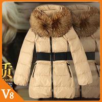 Free Shipping 2012 Korean winter thickened 2012 fur collar medium-long slim XXXL down Gift belt coat women plus size clothing