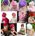 5pcs/lot New style wholesale free shipping fashion DOOMAGIC Baby hat, hot kid&#39;s hats with big flower,baby flower hat