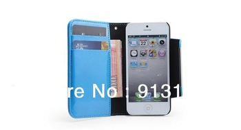 Free Shipping New Arrival Patent Leather Case For iphone 5 5G Wallet Case Design Carld Holder 7 Color Mix Wholesale With Package