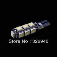 Free shipping 10pcs Error Free CANBUS T10 W5W 194 168 2825 2821 Car Warm White 13 SMD 5050 LED Light Bulbs DC 12V