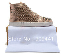 Bronze silver spike red bottom men shoes, designer shoes 2012 hot sale factory direct wholesale