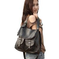 Multi-purpose handmade cowhide backpack female genuine leather personality buckle genuine leather backpack tok