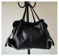 women&#39;s designer handbag,material:Genuine leather + fur,Size:46 x 34cm,black,two function,promation for christmas! Free shipping