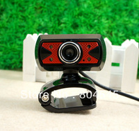USB 30.0M 6 LED WEBCAM CAMERA WEB CAM MIC For Laptop Computer PC Red CA3