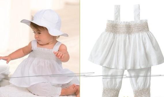 Fashion cute baby white dress short hat three pieces