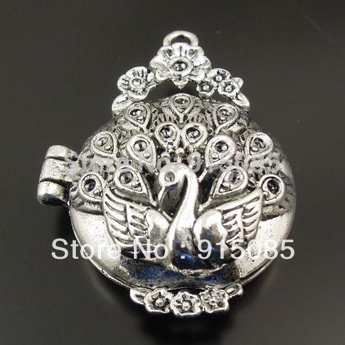 Antique Style Silver Tone Locket Prayer Box Pendants Charms Findings 3pcs 31377 37*30*14mm(China (Mainland))