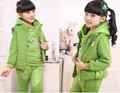The new girl in suit fashion children cotton sweater vest sweater thickened with children three piece set
