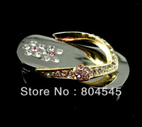 8GB 8G Bling Splint Sandals Flash Memory Pen Drive USB Drive Gold U001