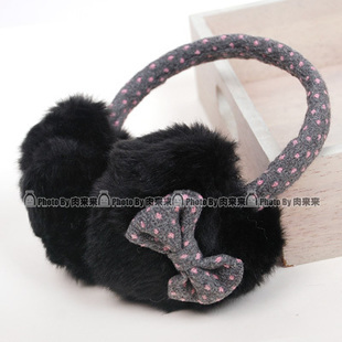 Free shipping  polka dot bow plush love thermal earmuffs trophonema all-match thickening 5pcs/lot