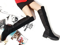 Free shipping!PU Leather high boots, knee  flat long boots