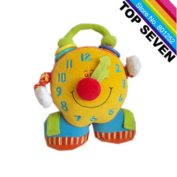 2013 New arriva Tolol! baby educational plush toy colorful smiling big ben activity clock toy ,Free Shipping H-18
