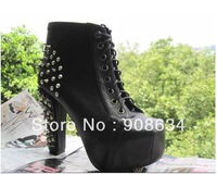 Cool Punk Style Rock Rivets Shoelace Thick heels Platforms Motorcycle Women Ankle Boots, Lady High-heeled Shoes Pumps