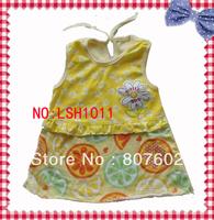 baby  girl's  yellow  cotton  skirt,  interesting  pattern  cotton  skirt