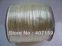 New 1mm Cream Silk Chinese Knot Cord Line Rattail Beading Threads Strings For DIY Jewelry Shamballa Bracelet Making Wholesale