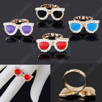 U Choose 24X Punk Rock Fashion Big Glasses Rhinestones Alloy Enamel Ring Adjustable Free Ship [F215 M*24]