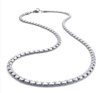 "4MM 316L Stainless Steel Flat Hammered Square Box Chain Necklace (20"" inches )"