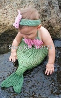 Free shipping----baby lovely Hand-woven mermaid Sleeping bags+flower Hair band Crochet adorn article Photography clothing 1pcs