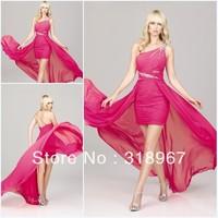 Free Shipping Ice Blue Chiffon Crystal Floor Length Sexy Prom Dresses