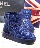 Paillette snow boots autumn and winter boots scrub genuine leather elevator boots shoes platform shoes women's shoes