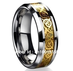Free Shipping Dragon Tungsten Carbide Celtic Ring Mens Jewelry Wedding Band Gold New size 8-13(China (Mainland))