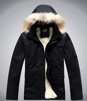 COOL 1 MENS WINTER WARM hooded FUR long jacket coat trench Outerwear parka black