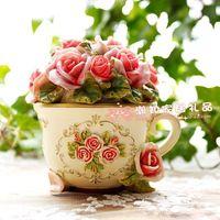 Farm house flowers cup rose glove box jewelry box storage box wedding ring box