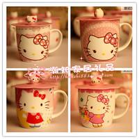 Hello kitty ceramic cover glass cup ceramic cup mug