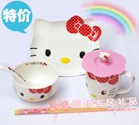 Gift box packaging hello kitty ceramic bowl set cartoon tableware bowl spoon dish mug chopsticks