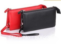 100% GENUINE COW LEATHER wristlet/clutch bag with strap,2 big money/mobile phone pockets,6 card places A1139