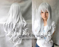 New long silver white curly women's cosplay Party wig +cap+gift