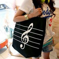 Fashion casual the treble clef canvas bag stripes shoulder reusable shopping bags