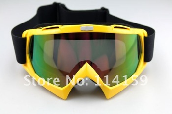 NewAdult Motocross Dirt Bike ATV Off-Road Snowboard Goggle Eyewear yellow Colored Lens