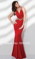 Hot Sell ! Long Sheath V-neck Stylish Red  Evening Dress 2013 newst ,Women Fashion Dresses and beading and Open Back