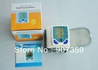 Hot! Fully Automatic Digital Blood Pressure Monitor Meter Heart Beat Meter With LCD Display free shipping 5pcs/lot