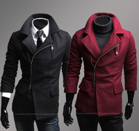 Free Shipping New Men's Jackets,Fashion oblique zipper outerwear slim turn-down collar overcoat Color:Black,Winered Size:M-XXL