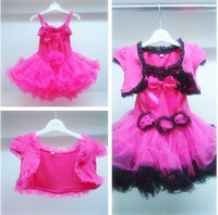 girl's set children's clothing female child   dress twinset  puff skirt   girl's clothes set  princess dress ROSE